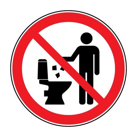 Do not litter in toilet icon. Keep clean sign. Silhouette of a man, throw garbage in a bin, in circle isolated on white background. No littering warning symbol. Public Information. Vector illustration