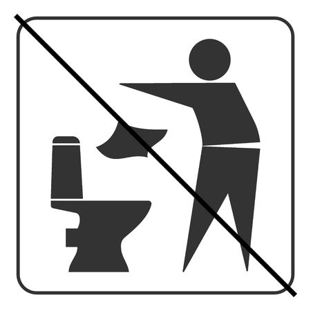 keep clean: Do not litter in toilet icon. Keep clean sign. Silhouette of a man, throw garbage in a bin, in square isolated on white background. No littering warning symbol. Public Information. Vector illustration