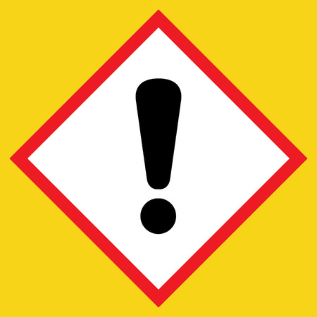 Exclamation point black sign. Hazard attention post icon on white background in a red rhombus, isolated on a yellow. Symbol of warning, caution, danger or risk. Flat style. Stock vector illustration Illustration