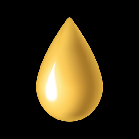 liquid gold: Oil drop icon. Droplet liquid nature and ecological. Golden sign isolated on black background. Gold design element. Symbol of olive, honey, energy, fuel. Ecological natural. Stock Vector illustration.