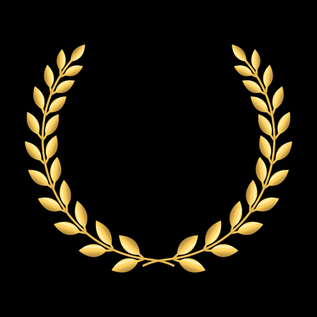 laurel leaf: Gold laurel wreath. Symbol of victory and achievement. Design element for decoration of medal, award, coat of arms or anniversary icon. Golden leaf silhouette on black background. Vector illustration.