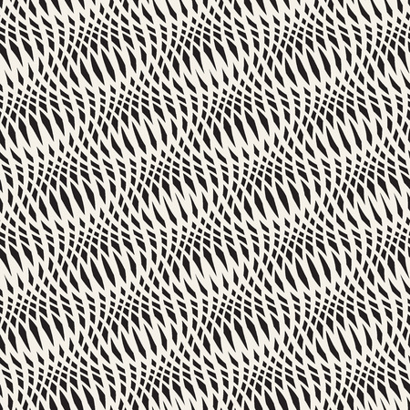 modern wallpaper: Wavy crossed stripes seamless pattern 3D. Abstract fashion texture. Geometric monochrome modern template. Design for wallpaper, wrapping, fabric, background, apparel, prints etc. Vector illustration Illustration