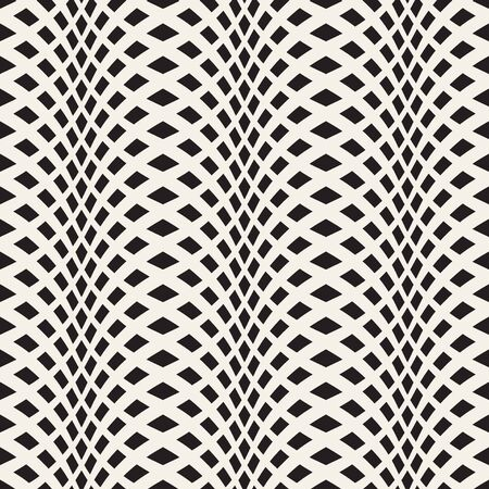 wavy fabric: Wavy crossed stripes seamless pattern 3D. Abstract fashion texture. Geometric monochrome modern template. Design for wallpaper, wrapping, fabric, background, apparel, prints etc. Vector illustration Illustration