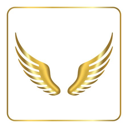 gold silhouette: Wings golden icon. Design graphic element. Template for icon or other uses. Abstract sign. Symbol of phoenix, bird, flight, freedom. Gold silhouette isolated on white background. Vector illustration.