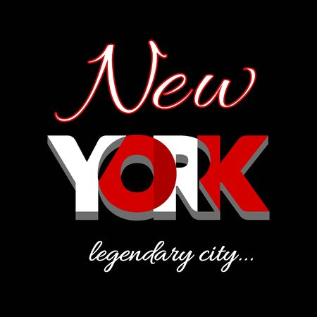 t shirt printing: New York city Typography Graphic. Fashion stylish printing design for t shirt and sports wear. NYC icon . Label USA. T-shirt Design for apparel, card, poster etc. Symbol of freedom. Vector illustration Illustration