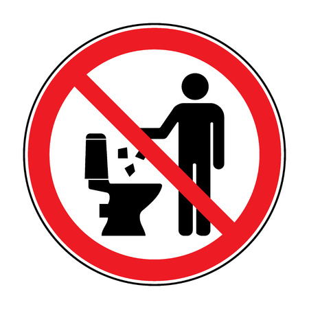 public toilet: Do not litter in toilet icon. Keep clean sign. Silhouette of a man, throw garbage in a bin, in circle isolated on white background. No littering warning symbol. Public Information. Vector illustration