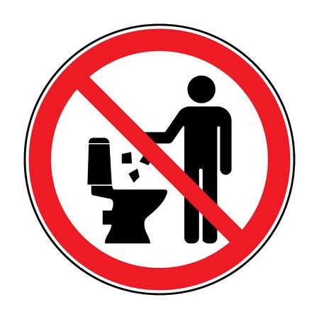 simbolo: Non venga disperso in icona toilette. Mantenere segno pulito. Silhouette di un uomo, gettare rifiuti in un bidone, in cerchio isolato su sfondo bianco. Nessun simbolo di avvertimento littering. Informazione pubblica. illustrazione di vettore