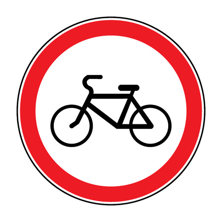 passing the road: No or Not allowed bicycles symbol. Sign indicating prohibition of passing bicycle rules. Prohibit road icon isolated on white background. No bikes allowed emblem. Stock illustration