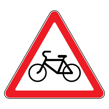 rules of road: Bicycle traffic sign. Warning symbol in a red triangle. Emblem indicating of passing bicycles rules. Road icon isolated on white background. Bikes allowed emblem. Stock illustration Stock Photo