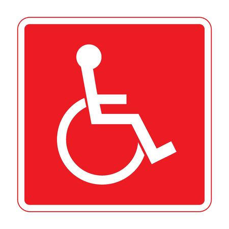 disabled sign: Disabled sign. Handicapped person icon in a red square isolated on white background. Illustrations of warning emblem and permissive symbol for the disabled. Stock Photo