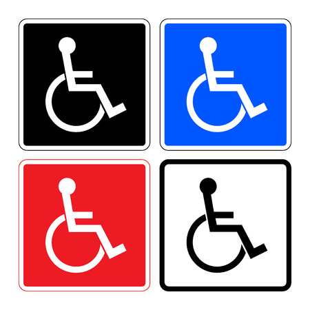 handicapped person: Disabled sign. Handicapped person icons isolated in square. Set illustrations of prohibiting warning sign and permissive sign for the disabled. On a white, black, blue and red background. Stock