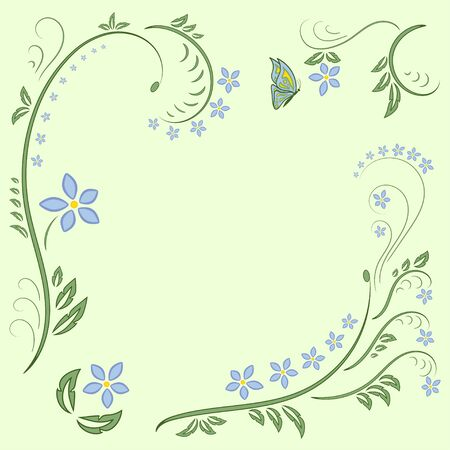 liana: Floral ornament with butterflies on light green background. Flower Illustration Elements. Beautiful card with tree branches, foliage, butterfly, fantastic flowers. Ornamental element design. Stock Photo