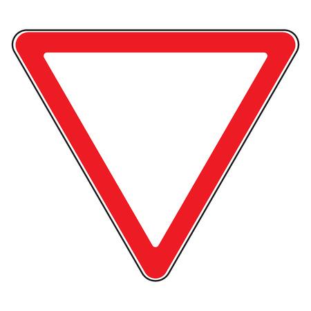 se�ales de transito: La se�al de tr�fico dar forma aislada. rendimiento del dise�o de icono triangular. Prioridad de la se�al de tr�fico. Muestra de camino triangular. Dise�o del s�mbolo de tr�fico en el fondo blanco. ilustraci�n Foto de archivo