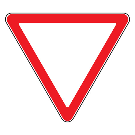 Road sign give way isolated. Design yield triangular icon. Priority of traffic sign. Blank triangular road sign. Road symbol design on white background. illustration