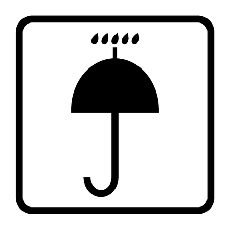keep in: Black packaging symbol in a white square Keep dry icon. Keep dry cardboard sign on a white background. Keep dry packaging symbol. Warning sign. Stock