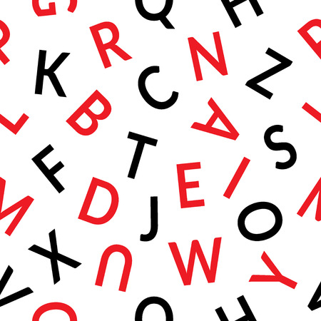 alphabet wallpaper: Seamless pattern with letters. Abstract black and red letters on a white background. Graphic style with alphabet. Can be used for prints, textiles, wrapping, wallpaper, website, blog etc.