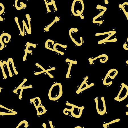 alphabet wallpaper: Seamless pattern with letters. Abstract funny yellow letters on a black background. Fashionable graphic style with alphabet. For prints, textiles, wrapping, wallpaper, website, blog etc. Stock Photo