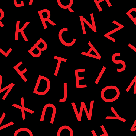 alphabet wallpaper: Seamless pattern with letters. Abstract red letters on black background. Graphic style with alphabet. Stylish alphabet background. For prints, textiles, wrapping, wallpaper, website, blog etc. Stock Photo