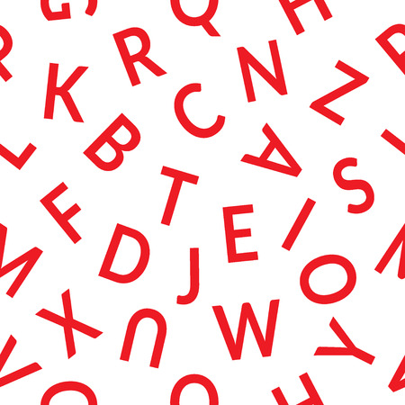 alphabet wallpaper: Seamless pattern with letters. Abstract red letters on white background. Graphic style with alphabet. Stylish alphabet background. For prints, textiles, wrapping, wallpaper, website, blog etc.