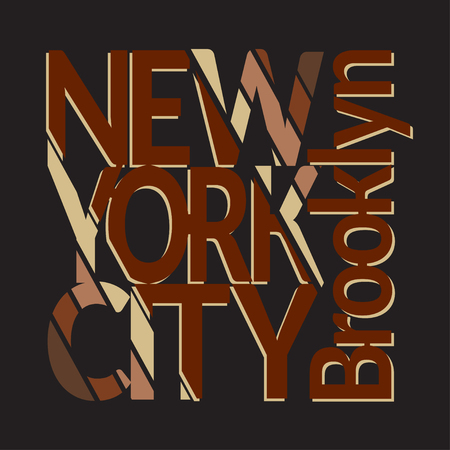 brooklyn: New York City Typography Graphics. Mans T-shirt Printing Design. NY Brooklyn original wear. Fashion Design Print for sportswear apparel. Concept in vintage style for different print production.