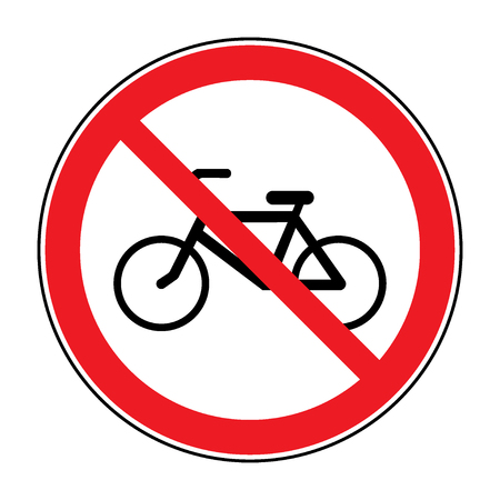 Bicycle prohibition sign. No bikes or no parking icon in the red circle isolated on white background. Illustrations of prohibiting warning symbol for bicyclists. No bikes allowed sign. Stock