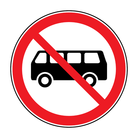 passing the road: No or Not allowed buses symbol. Traffic sign indicating prohibition of passing bus rules. Prohibit road icon isolated on white background. No allowed emblem. Stock illustration