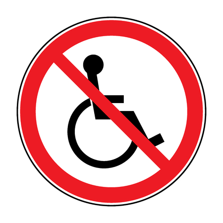 handicapped person: Disabled sign. Handicapped person icon isolated in the red circle on white background. Illustrations of prohibiting warning emblem and not permissive symbol for the disabled. Stock Photo