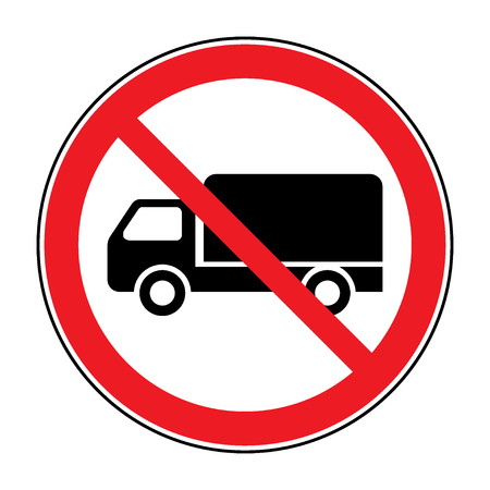 forewarning: No truck prohibition sign. No lorry or no parking icon in the red circle isolated on white background. Illustrations of prohibiting warning symbol for trucks. No allowed sign. Stock Stock Photo