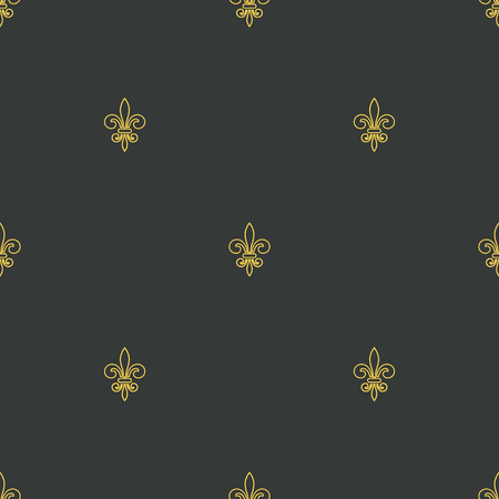 royal french lily symbols: Seamless pattern with gold fleur-de-lis on gray background. Graphics design for wallpaper, wrapping, tiles, fabric, apparel, print production. Fleur de lis royal lily texture in antique style.