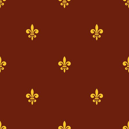 lys: Seamless pattern with gold fleur-de-lis on brown background. Graphics design for wallpaper, wrapping, tiles, fabric, apparel, print production. Fleur de lis royal lily texture in antique style.