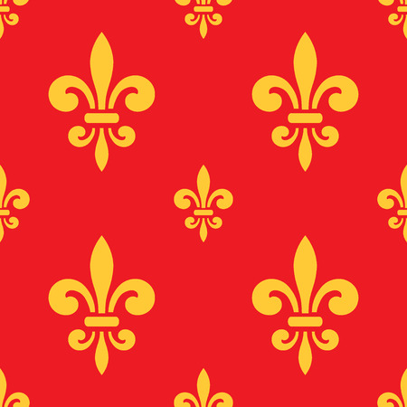 royal french lily symbols: Seamless pattern with gold fleur-de-lis on red background. Graphics design for wallpaper, wrapping, tiles, fabric, apparel, print production. Fleur de lis royal lily texture in antique style.