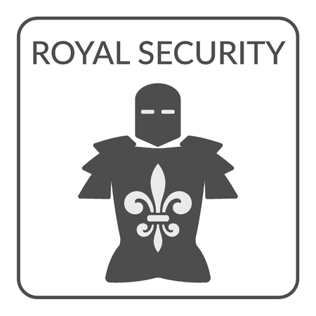 knightly: Security flat symbol. Gray silhouette armor with royal fleur de lis on a white background. Service Concept. icon Design for Security companies or agency. Protection idea. Safety icon template