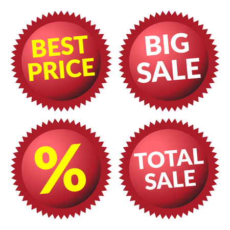 Red discount price tags over white background. Set of red sale stickers and labels. Collection sale discount banners. Volume effect. Design template. Sticker with advertising message.