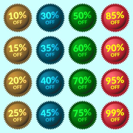 volume discount: Red, green, brown and blue discount price tags on light-blue background. Set of colorfull stickers and labels. Collection sale discount banners. Volume Design template with advertising message.