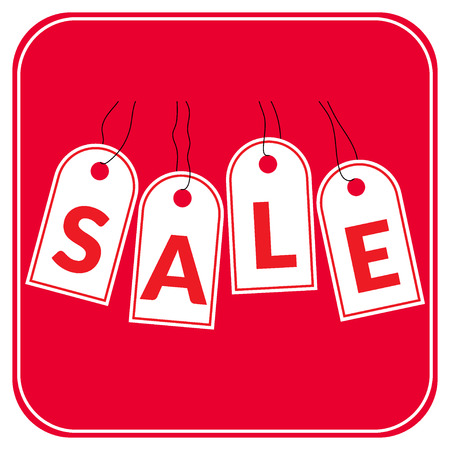sell off: White hanging sales tags isolated on red background. Sale savings labels set. Concept of discount shopping. Sale design template. Sticker with advertising message.