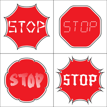 octagonal: STOP. Traffic stop sign on pure white. Set of red octagonal stop signs for prohibited activities. Set a stop sign in the octagon of different shapes. Different fonts. Stock illustration
