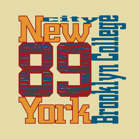 athletic wear: New York City Typography Graphics. Athletic t-shirt printing design. NY Brooklyn original wear. Fashion Design Print for sportswear apparel. Concept in vintage style for print production.