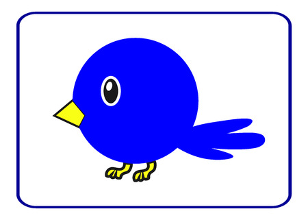 Blue bird with a yellow beak in the frame. Drawing of a cute cartoon birdie. Design element, isolated on white background. Template suitable for comic, clips or other uses. Stock vector illustration.
