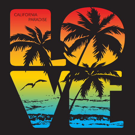 カリフォルニアの楽園タイポグラフィ グラフィック。スポーツ アパレルの t シャツ印刷のデザイン。カリフォルニア州オーシャン ビーチ元摩耗。  イラスト・ベクター素材