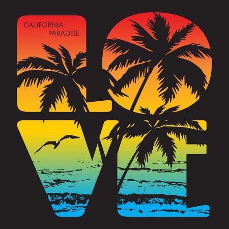 Paradise California tipografía Gráficos. Diseño de la camiseta de impresión para la ropa deportiva. CA playa del océano desgaste inicial. Concepto de estilo vintage. Símbolo de vacaciones, verano y el surf. ilustración vectorial Foto de archivo - 52492278