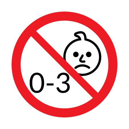 signos de precaucion: No apto para niños menores de 3 años de edad icono. Silueta de un niño en el círculo rojo, aislado sobre fondo blanco. Recomendación de seguridad. Botón prohibido el uso de niño menor de tres años. ilustración vectorial Vectores