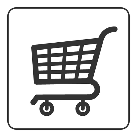 e retailers: Shopping Cart Sign. Gray icon, isolated on white background. Allowing signal. Trolley allowed button. Symbol of buy, retail, sale, store and business. Flat design element. Stock Vector illustration. Illustration