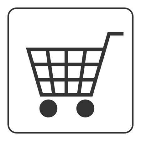 allowing: Shopping Cart Sign. Gray icon, isolated on white background. Allowing signal. Trolley allowed button. Symbol of buy, retail, sale, store and business. Flat design element. Stock Vector illustration. Illustration