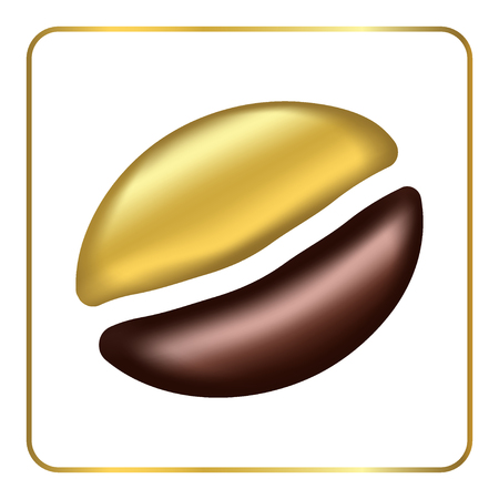 golden bean: Golden coffee bean singl. Logo gold and brown. Template for design menu coffee house, cafe or restaurant. Label concept menu of beverages. Silhouette isolated on white background. Vector illustration.