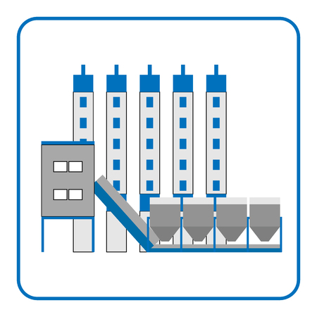 production plant: Concrete production plant icon in the frame. Building isolated on white background. Industrial manufacturing. Detailed modern flat style. Symbol of industry. Design element. Stock Vector illustration. Illustration
