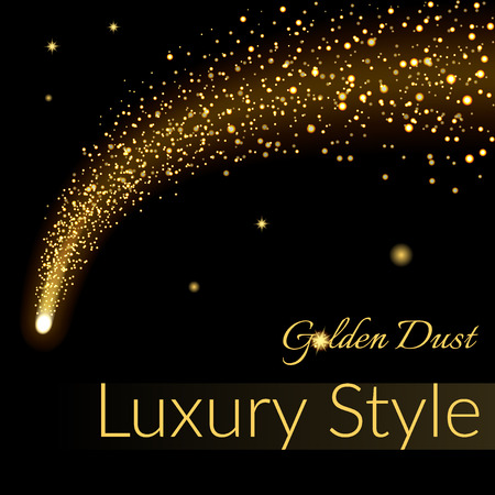 Golden sparkling falling star. Gold dust trail. Cosmic glittering wave in black background. Abstract Design template. Lights, glitter, sparkles. Fashion stylish retro design. Stock Vector illustration