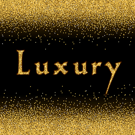 luxury template: Gold Glitter Texture. Lights, sequins and sparkles. Glowing New Year, Christmas background. Golden Dust card. Design template for flyer and invitation, advertising. Luxury style. Vector Illustration. Illustration