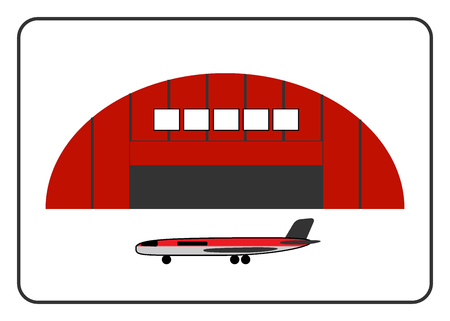 hangar: Hangar icon with plane in the frame. Red building, isolated on white background. Industrial architecture. Detailed modern storage. Flat style. Symbol of industry. Design element. Vector illustration.