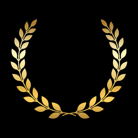 laurel leaf: Gold laurel wreath. Symbol of victory and achievement. Design element for decoration of medal, award, coat of arms or anniversary logo. Golden leaf silhouette on black background. Vector illustration.