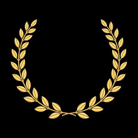 corona de laurel de oro. Símbolo de la victoria y el logro. Elemento de diseño para la decoración de la medalla, premio, el escudo o el logotipo del aniversario. silueta de la hoja de oro sobre fondo negro. Ilustración del vector.